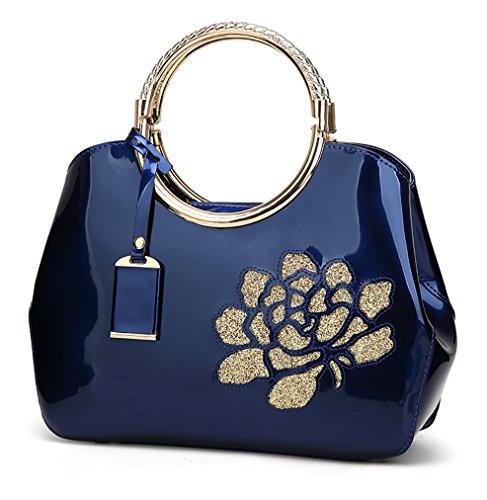 Bleu avec verni Himaleyaz supérieure blanc bandoulière en cuir Satchel poignée sac Totes Dame Bureau les à femmes main Sac à pour gwwxOXRqB