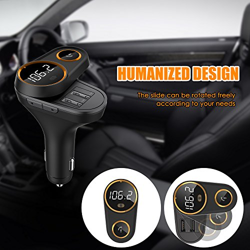 Bluetooth FM Transmitter for Car, Yurchuke 2018 Stylish Design Wireless Bluetooth FM Radio Adapter Car Kit with Hands-Free Calling, 5V/4.8A Concealled Dual USB Charging Ports for iPhone iPod iPad ect by Yurchuke (Image #2)