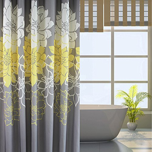 Sfoothome Small Size 36 by 72 Inch Gray Background and Yellow Flowers Pattern ,Mildew Proof and Waterproof Washable Printed Polyester Fabric Shower Curtain for Bathroom (Yellow 36Inch72Inch)