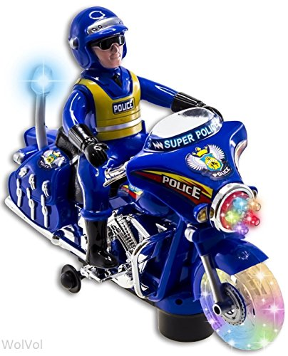 WolVol Police Toy Motorcycle with Colorful Lights and Sirens, Sounds and Talks, Goes around and Changes Directions