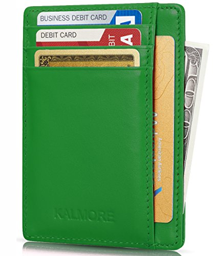 Card Case RFID Protected Genuine Leather Front Pocket Slim Wallet Credit Card Holder with ID Window by KALMORE - Thin Green