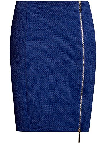 oodji en Ultra Zip Crayon Jupe 7501n Femme Bleu avec Mtal ffxRqrY