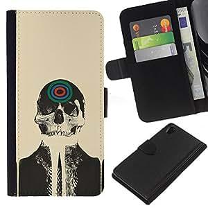 Sony Xperia Z2 D6502 D6503 D6543 L50t L50u , la tarjeta de Crédito Slots PU Funda de cuero Monedero caso cubierta de piel ( Skull Skeleton Art Target Drawing Painting Head)