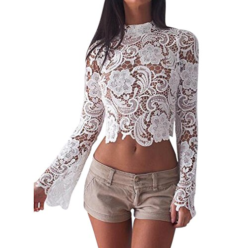 Remelon Womens White Floral Lace Tunic Crop Top Scallop Sheer Long Bell Sleeve Blouse S