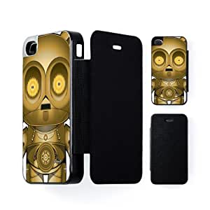 C3PO 2 Black Flip Case Snap-On Protective Hard Cover for Apple® iPhone 4 / 4s by Gangtoyz + FREE Crystal Clear Screen Protector