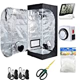 Hydro Plus Grow Tent Room Kit 24″x24″x48″ Indoor Plants Growing Reflective Mylar Dark Room Non Toxic Hut + Hydroponics Growing System Accessories (24″x24″x48″ Kit) For Sale