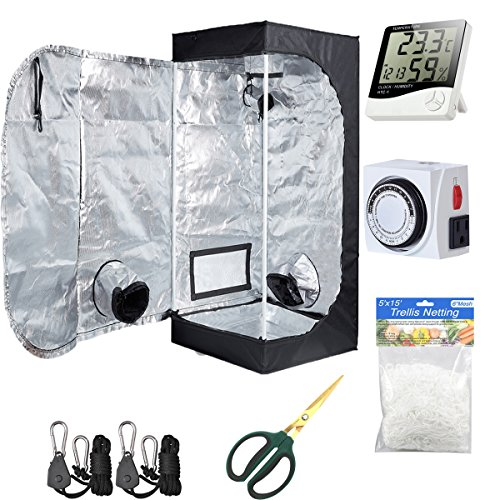 $72.61 indoor grow tent kit Hydro Plus Grow Tent Room Kit 24″x24″x48″ Indoor Plants Growing Reflective Mylar Dark Room Non Toxic Hut + Hydroponics Growing System Accessories (24″x24″x48″ Kit) 2019