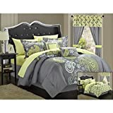 Chic Home Olivia 20-Piece Comforter Set Reversible Paisley Print Complete Bed in a Bag with Sheet Set, Window Treatments, and Decorative Pillows, Queen Grey/Yellow