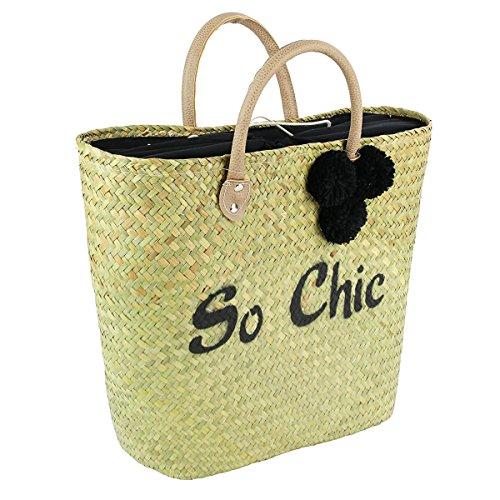 The Treasures Of Lily [q1179] - Bolsa De Playa 'chic' Negro Beige - 50x28 Cm.