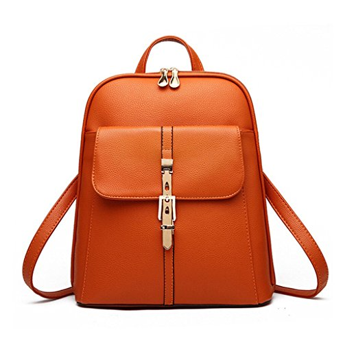 Tiny Chou Candy Colors PU Leather Backpack for College Schoolbag Book Bag Orange