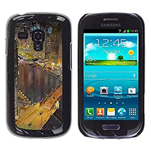 TopCaseStore / la caja del caucho duro de la cubierta de protección de la piel - Hong Kong Night Lights Buildings River - Samsung Galaxy S3 MINI NOT REGULAR! I8190 I8190N