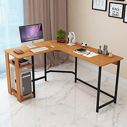 TY ARTS & CULTURE – L-Shaped Corner Desk Gaming Desk PC Table Office Computer Desk with Wood Laptop Black Frame Work…