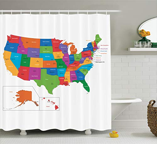 - Ambesonne Wanderlust Shower Curtain, Colorful USA Map with States and Capital Cities Washington Florida Indiana Print, Cloth Fabric Bathroom Decor Set with Hooks, 70