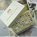 ONOR-Tech 40 Pcs Lovely Girl Wooden Rubber Stamp /DIY Diary Stamp Set