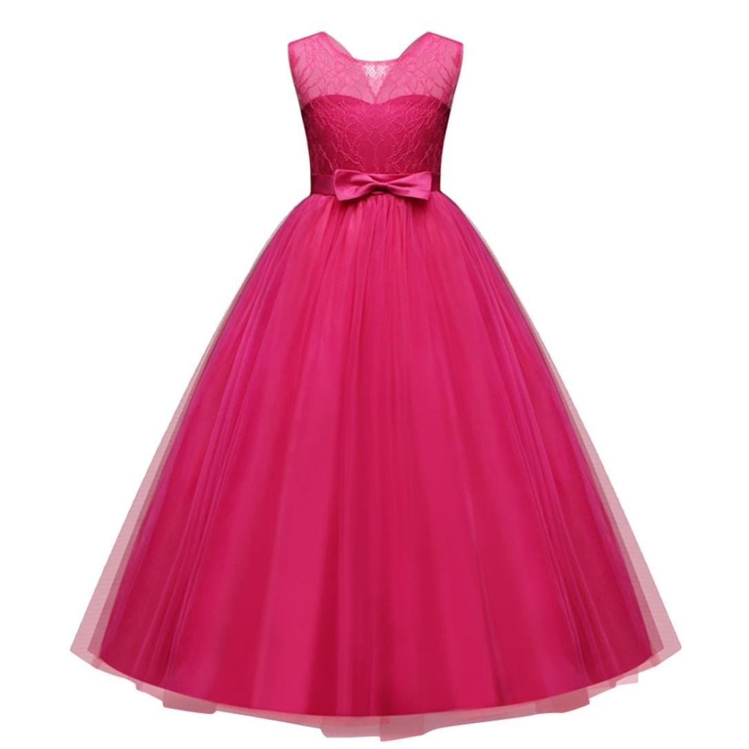 TOOPOOT Children Girls Dress,Bowknot Formal Princess Party Casual Clothes Baby Ballet Outfits (Size:13T-Height:165-170CM, Hot Pink)