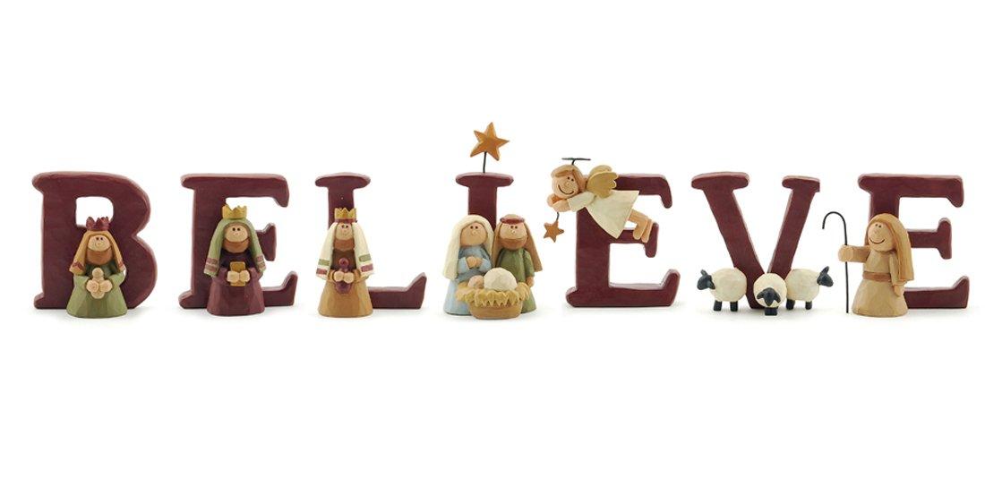 B-E-L-I-E-V-E キリストの降誕 樹脂 クリスマスデコレーション 7文字セット 高さ1.75インチ B00MEHLYY8