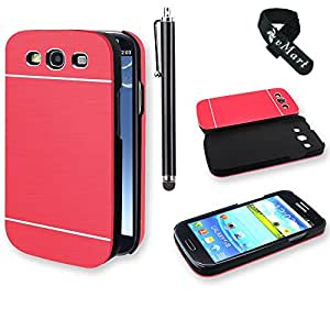 vMart Premium Chrome Aluminum Wire drawing Hard Case for Samsung S3/9300/9305 - Red
