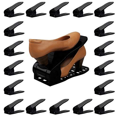 (Organize Joy Shoe Slots, 18 Piece Set Plastic Shoe Holders, Closet Space Saver (Black))