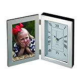 Creative Gifts Silhouette Hinged Clock / 3'' X 5'' Frame, Silver Plated.