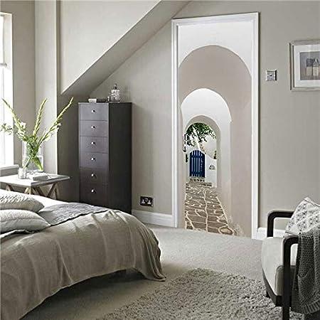 Pegatinas de Puerta 77 * 200 Cm Esquina Escalera Puerta Pegatina For Sala De Estar Dormitorio Baño DIY PVC Autoadhesivo Papel Pintado Decoración del Hogar Mural Calcomanías (Color : DM076): Amazon.es: Hogar