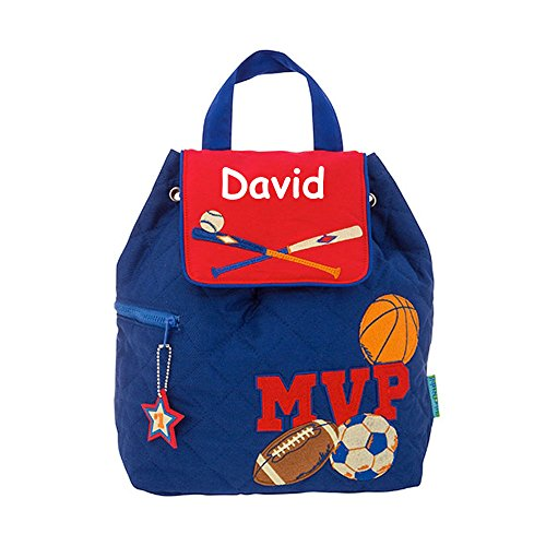 (Stephen Joseph Personalized MVP Sports Football Basketball Soccer Ball Baseball Quilted Backpack with Name)