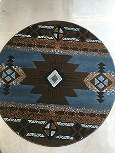 south west round native american area rug blue brown design c318 5 feet x 5 feet. Black Bedroom Furniture Sets. Home Design Ideas