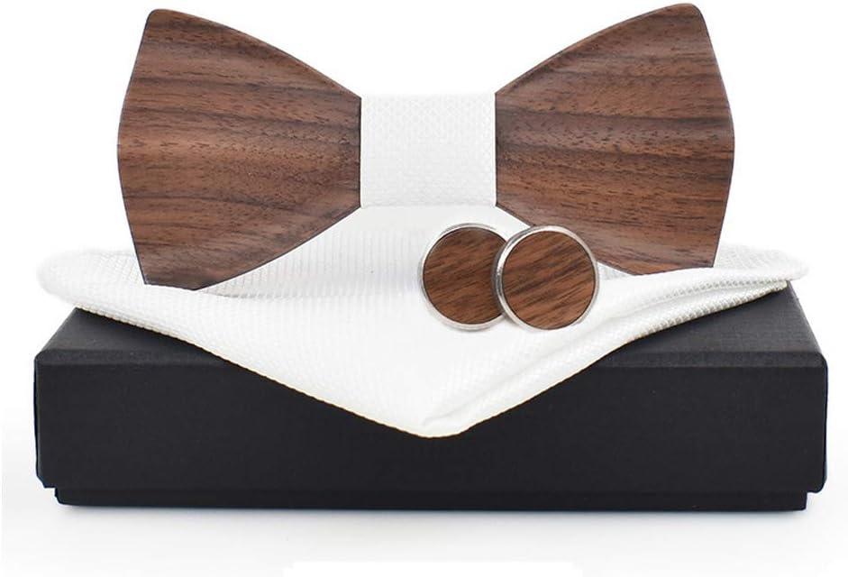 Stilvolle und trendige Holzfliege H/ölzerne Fliege f/ür M/änner Frauen 3D Holz handgemachte passende Manschettenkn/öpfe Fliege Hochzeit Dinner Party Business h/ölzerne Fliege Herren Accessoires