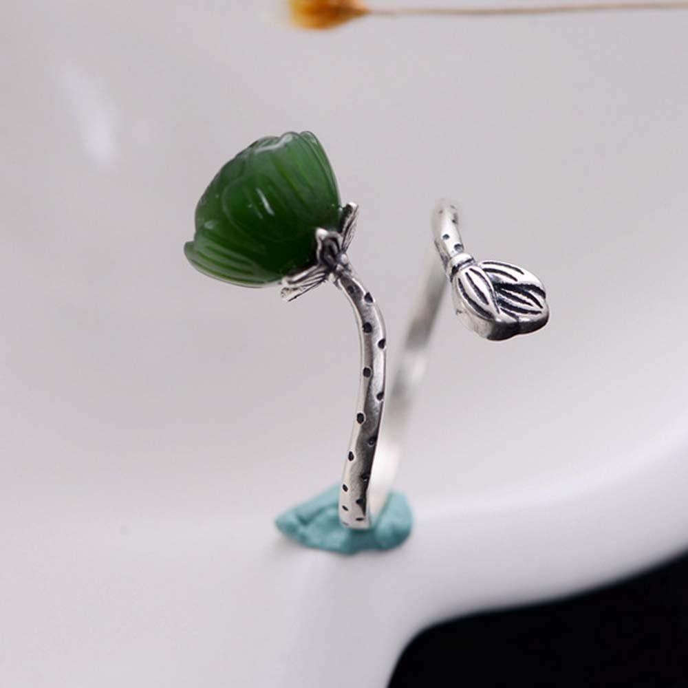 Jade Angel Sterling 925 Silver Sculptured Lotus Flower Natural Jade Gemstone Ring