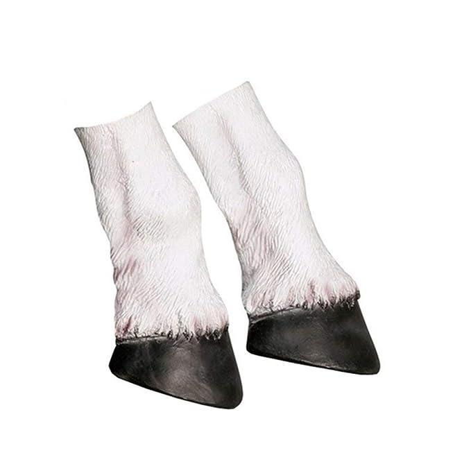 Cusfull Látex de Caucho Novedad Halloween Traje Caballo Cabeza Máscara Navidad Fiesta Decoraciones Adulto Accesorio Del Traje (Patas de Unicornio)
