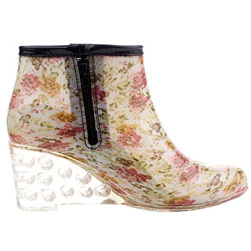 Odema Dames Enkel Hoge Regenlaarzen Zijrits Sleehak Hoge Hak Waterdichte Schoenen Winter Sneeuw Laarzen Bootie # 1 Katoen Voering
