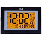 "hito 9.5"" Large Digital Battery Atomic Alarm Clock Desk Wall Clock Self Setting Dual Alarm Auto Night Light 6 Timezones Date Day Indoor Temperature Humidity Adjustable Brightness (Black2)"