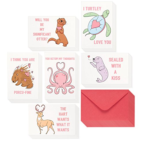 48 Pack Valentine Cards - Cute Love Cards with Assorted Puns & Animal Designs - Great for Adults & Children, Valentine's Day, Anniversary - Envelopes Included, 4 x 6 (Adult Greeting Card)