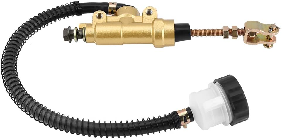 Gold Universal Motorcycle Rear Hydraulic Brake Master Cylinder Pump Folding Rear Foot Brake Cylinder with Reservoir