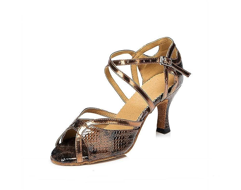 HCCY Poissons en Bronze Dames Adultes Chaussures à Talons Hauts avec Talons Hauts et Chaussures de Danse Latine