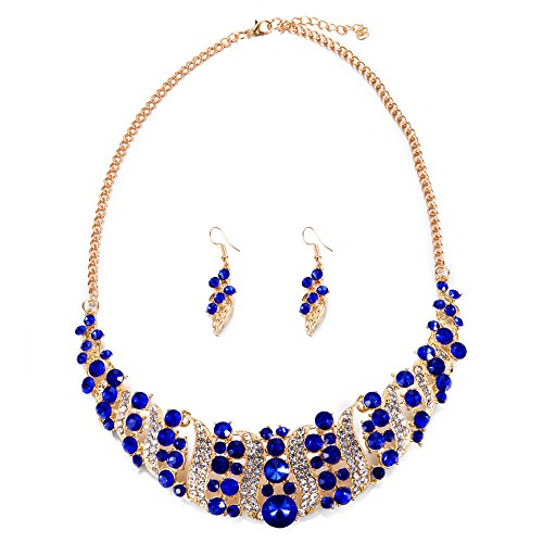 Yuhuan Spiral Metal Shining Crystal Jewelry Set Statement Necklace and Drop Earrings (Spiral Drop Necklace)