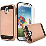 Galaxy S4 Case, 2-Piece Style Hybrid Shockproof Hard Case Cover + Circle(TM) Stylus Touch Screen Pen And Screen Protector - Rose Gold
