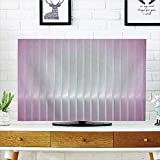 LCD TV Cover Multi Style,Modern Decor,Vertical Wave Like Lines Display in Vibrant Colors Computer Graphic Paint,Dried Rose Blue,Customizable Design Compatible 42'' TV