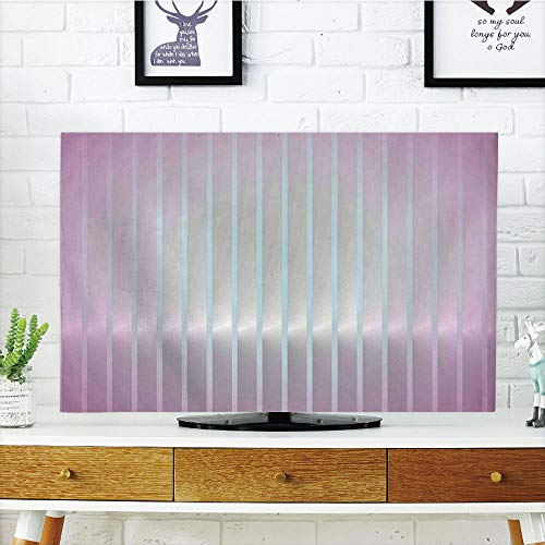 LCD TV Cover Multi Style,Modern Decor,Vertical Wave Like Lines Display in Vibrant Colors Computer Graphic Paint,Dried Rose Blue,Customizable Design Compatible 42'' TV by iPrint (Image #4)