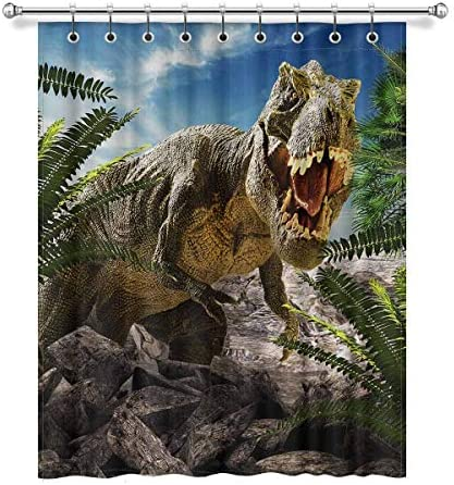 InterestPrint Cool Giant Dinosaur 3D Render Blackout Window Curtain Panels Darkening Window Curtain with Rings for Living Room Bedroom, 52W x 63L, 1 Panel