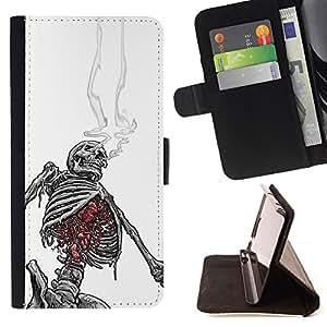 Stuss Case / Funda Carcasa PU de Cuero - Smoking Skeleton Skull Blanco Negro - Motorola Moto E ( 1st Generation )