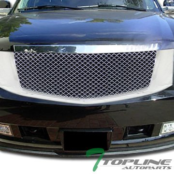 Topline Autopart Chrome Mesh Front Hood Bumper Grill Grille Cover Abs 1Pc 07-14 Cadillac Escalade Cadillac Escalade Chrome Mesh