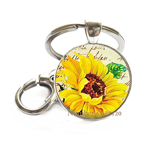 Sunflower Key Ring Sunflower Keychain on Handwriting Background Keychain Key Ring Sunflower Charm Keychain Flower Keychain Flower Jewelry,BV112 ()