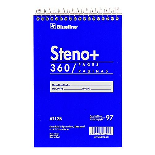 - Blueline Steno Notebook/High Capacity Note Pad, 6 x 9 inches, 360 Pages / 180 Sheets (AT12B)