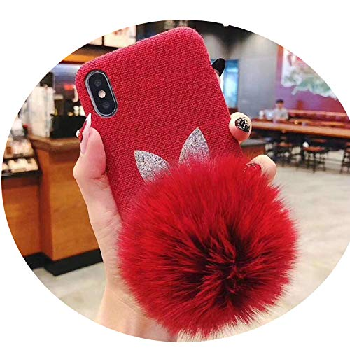 Phone Case for iPhone X iPhone Xs MAX XR 7 8 6 6s Plus Cute Animal Plush Hair Warm Fur Ball Soft Cloth Mobile Back Cover,2,for iPhone -