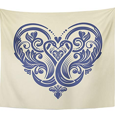 (Emvency Tapestry Mandala 50x60 Inch Home Decor Damask Victorian Style Ornate Design Heart Pattern for and Weddings Locket Filigree for Bedroom Living Room Dorm)