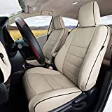Lingyue Full Coverage Leatherette Custom Exact Fit Full Set Three Rows Car Seat Cove for Toyota Highlander 2014 2015 2016 2017 2018 2019, Airbag Compatible, Beige Color