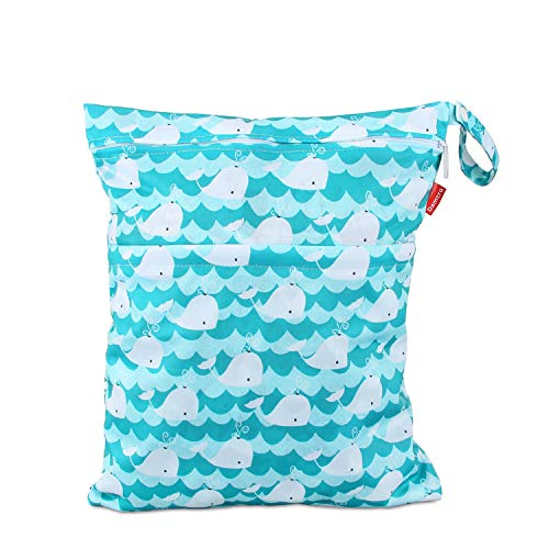 Wet Dry Bag with Handle for Swimsuit, Pumping Parts, Wet Clothes and More, Ideal for Travel, Exercise, Daycare, Swimming, Reusable and Water-Resistant (Medium,Cute Whale) ()
