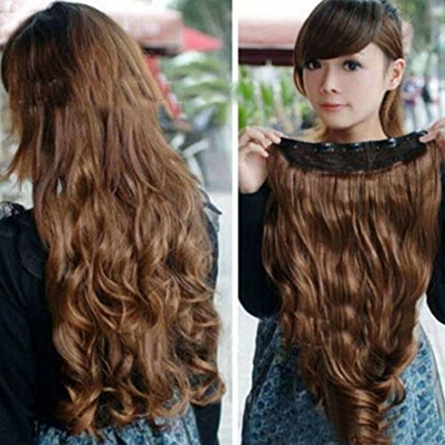 Hair Extensions,3/4 Full Head Thick Curly Wave Clips Hair Pieces for Women (Coffee)