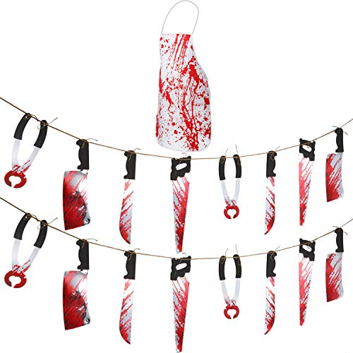 (Boao 2 Pieces Bloody Garland Halloween Knife Hanging Banner Fake Torture Hanging Knives with 1 Piece Blood Splatter Apron for Halloween Decorations Blood Splattered Party Decoration)