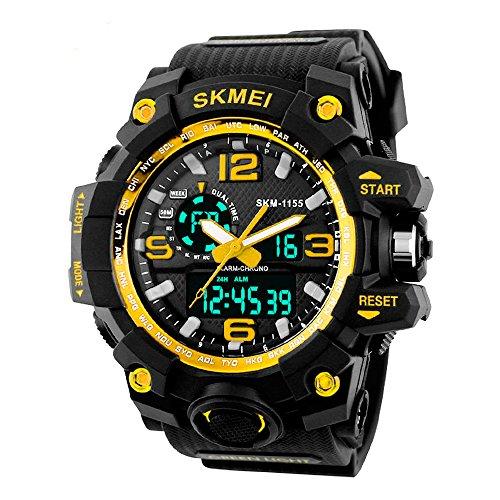 SKMEI Reloj Digital dual time Deportivo Militar Para hombre Resistente al agua. Cronómetro, Alarma, fecha y Retroiluminación. Caja Grande (Amarillo)